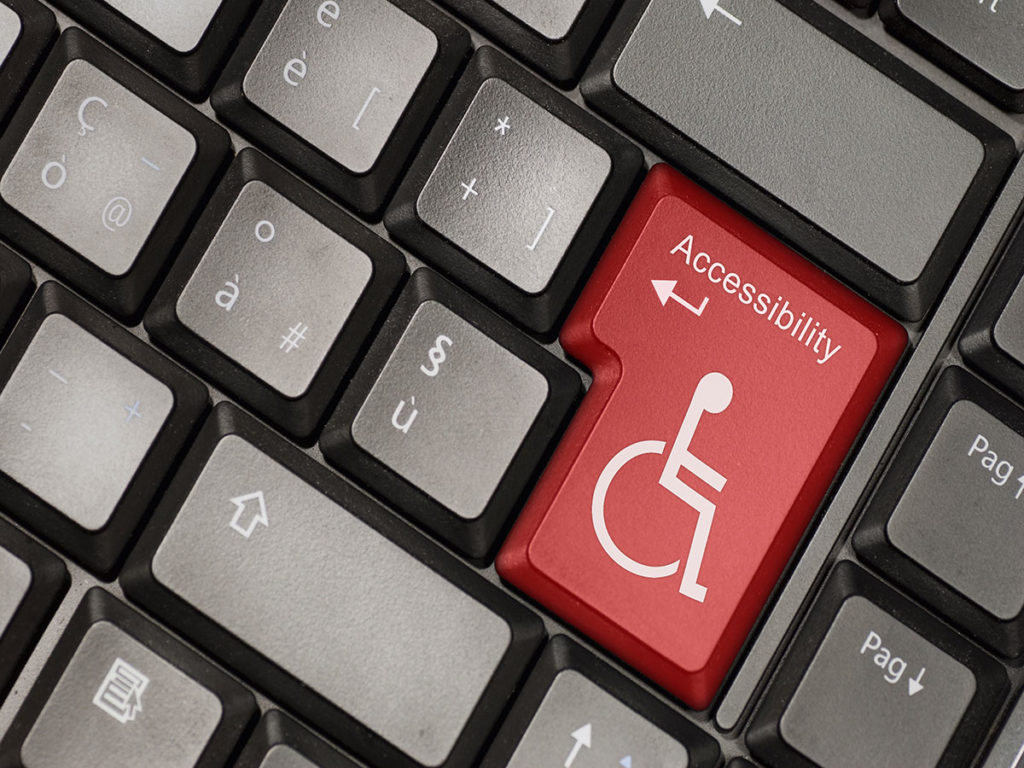 ADA Correct Website Remediation Services Background Image of a Keyboard With A Red Disabled Key