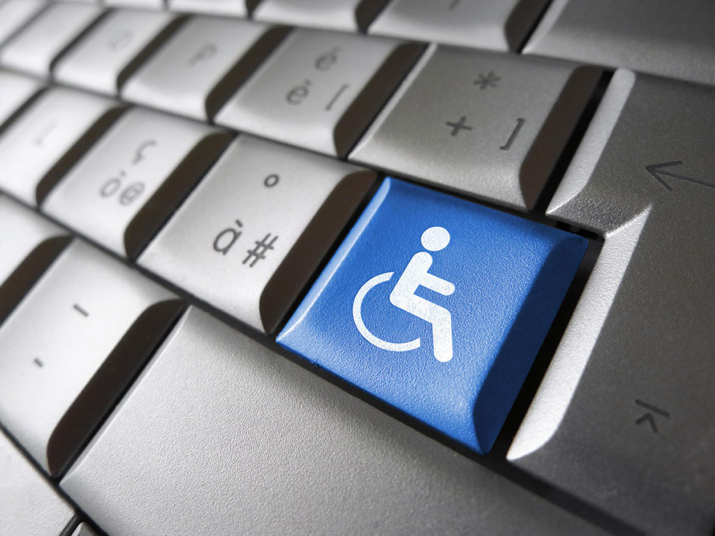 ADA Correct Website Remediation Services Background Image of Keyboard With Blue Disabled Key