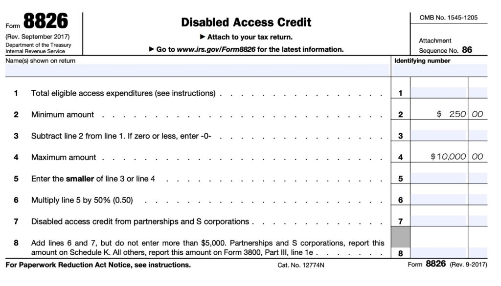 snapshot of the IRS form 8826 allowing businesses to get a tax credit for ADA expenditures