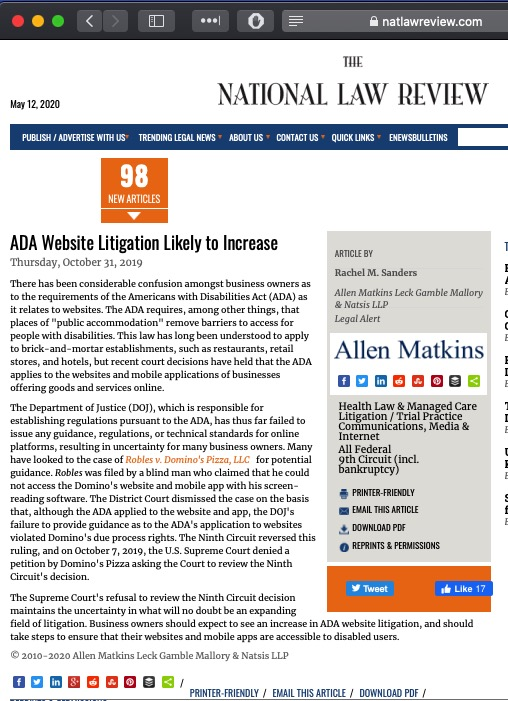 screen shot press article about ADA violation